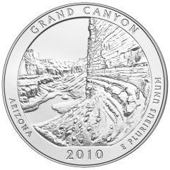 2010 Grand Canyon 5 oz Burnished Silver Coin - America The Beautiful