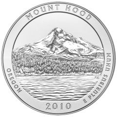 2010 Mount Hood 5 oz Burnished Silver Coin - America The Beautiful