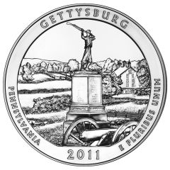 2011 5 oz Gettysburg America The Beautiful Silver Coin