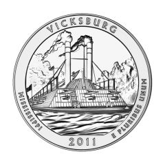 2011 Silver 5 oz Vicksburg America The Beautiful