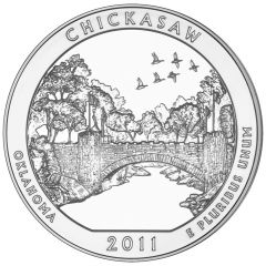 2011 Chickasaw 5 oz Burnished Silver Coin - America The Beautiful