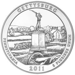 2011 Gettysburg 5 oz Burnished Silver Coin - America The Beautiful