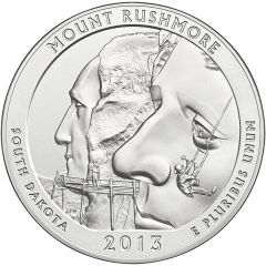 2013 Mount Rushmore 5 oz Burnished Silver Coin - America The Beautiful