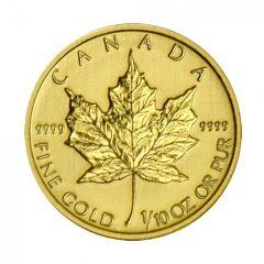 2014 Canadian Gold Maple Leaf - .9999 Fine Gold 1/10 oz
