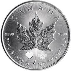 2015 1 oz Canadian Silver Maple Leaf Coin - Heart Privy