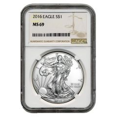 2016 NGC MS-69 American Silver Eagle Coin (Brown Label)