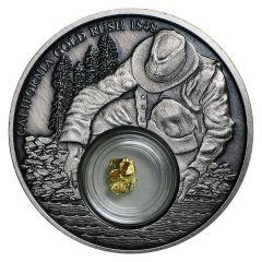 2016 Niue California Gold Rush Silver Coin - Antique Finish - 24k Gold Nugget