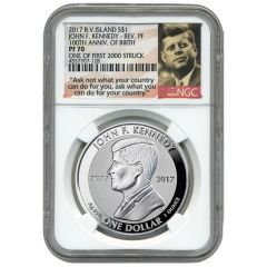 2017 John F. Kennedy NGC PF-70 Reverse Proof Silver Coin