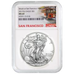2017 (S) NGC MS-69 American Silver Eagle Coin - Trolley Label