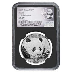 2018 30 Gram Chinese Silver Panda NGC MS-69 Early Releases Black Core