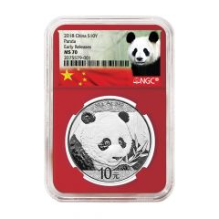 2018 30 Gram Chinese Silver Panda NGC MS-70 Early Releases Red Core