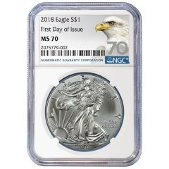 2018 NGC MS-70 First Day Of Issue American Silver Eagle Coin (70 Label)