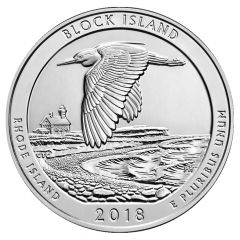2018 Block Island 5 oz Silver Coin - America The Beautiful