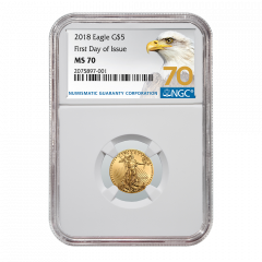 2018 1/10 oz NGC MS-70 First Day Of Issue Gold American Eagle (70 Label)