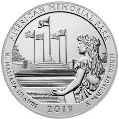2019 Memorial National Park 5 oz Silver Coin - America The Beautiful
