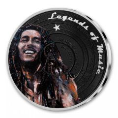 2019 1 oz Bob Marley Colorized Silver Proof - Legends of Music