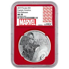 2019 1 oz NGC MS-70 Captain America Silver Coin - Red Core