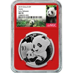 2019 30 Gram Chinese Silver Panda NGC MS-70 Early Releases Red Core