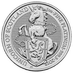 2019 1 oz Queen's Beasts Unicorn of Scotland Platinum Coin