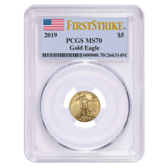 2019 1/10 oz PCGS MS-70 First Strike Gold American Eagle