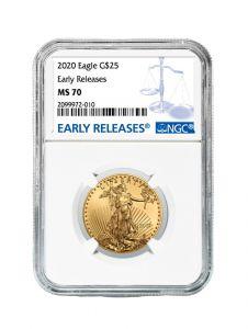 2020 1/2 oz NGC MS-70 ER American Gold Eagle Coin