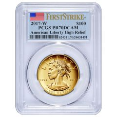 PCGS PR-70 2017 Gold High Relief American Liberty Coin - 225th Anniversary Release