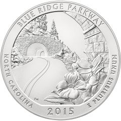 2015 Blue Ridge Parkway 5 oz Burnished Silver Coin - America The Beautiful