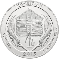 2015 Homestead 5 oz Burnished Silver Coin - America The Beautiful