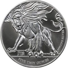 2019 5 oz Roaring Lion Silver Coin - High Relief