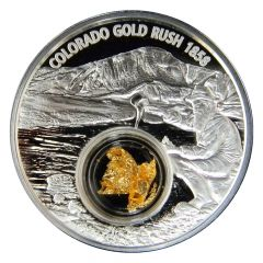 """2017 Colorado Gold Rush Silver Coin - Proof Finish - 24k Gold """"Nugget"""""""