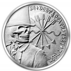Silver Bullet Shield Shield Debt and Death 1 oz Silver Round