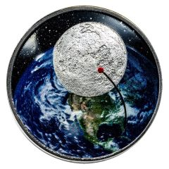 2019 1 oz Silver Moon Landing Proof Coin (Curved)