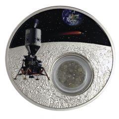 2019 1 oz Silver Moon Landing Proof Coin (Diamond Inserts)