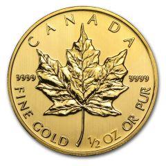 2014 Canadian Gold Maple Leaf - .9999 Fine Gold - 1/2 oz