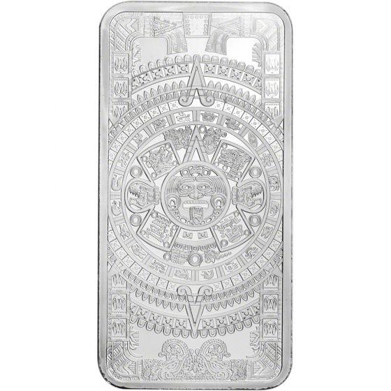 Silver 10 oz Aztec Calendar Bar