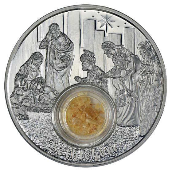 Niue Footsteps of Jesus Nazareth 1oz Proof Silver Coin olive wood from Nazareth