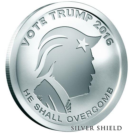 2020 VOTE TRUMP OLIGARCHY BU 1 oz .999 SILVER ART ROUND SILVER SHIELD