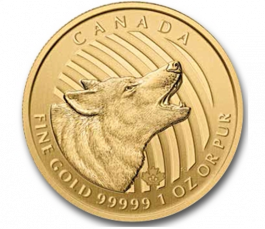 2014 1 Oz Gold Canadian Howling Wolf Call Of The Wild Series