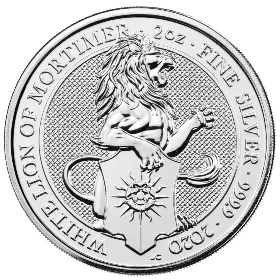2020 Queen/'s Beast White Lion of Mortimer 2 oz .9999 Silver UK Coin Brexit