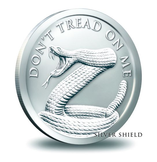 Don/'t Tread on Me Silver Shield 1 oz Copper Round