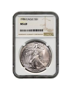 1986 NGC MS-69 American Silver Eagle Coin (Brown Label)