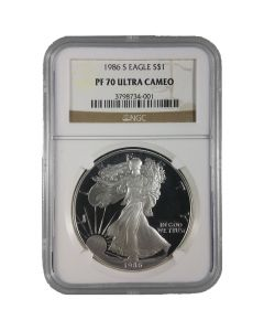 1986-S NGC PF-70 Proof American Silver Eagle Coin