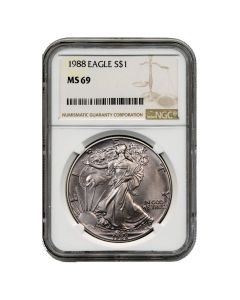 1988 NGC MS-69 American Silver Eagle Coin (Brown Label)