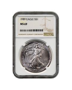 1989 NGC MS-69 American Silver Eagle Coin (Brown Label)