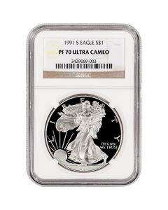 1991-S NGC PF-70 Proof American Silver Eagle Coin