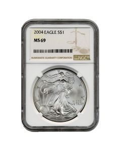2004 NGC MS-69 American Silver Eagle Coin (Brown Label)