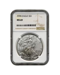 2006 NGC MS-69 American Silver Eagle Coin (Brown Label)