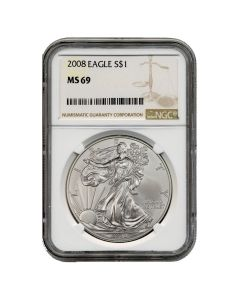 2008 NGC MS-69 American Silver Eagle Coin (Brown Label)