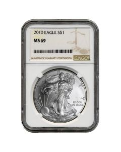 2010 NGC MS-69 American Silver Eagle Coin (Brown Label)