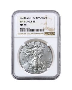 2011 NGC MS-69 American Silver Eagle Coin (Brown Label)